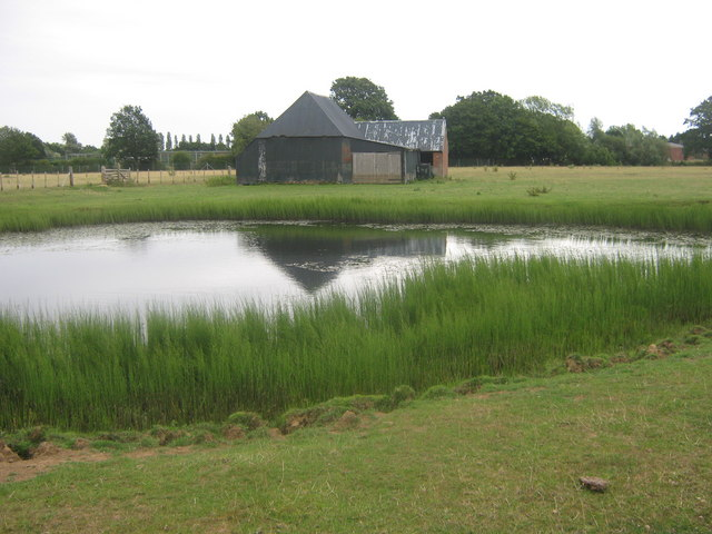 File Farm Building And Pond In Marley Pond