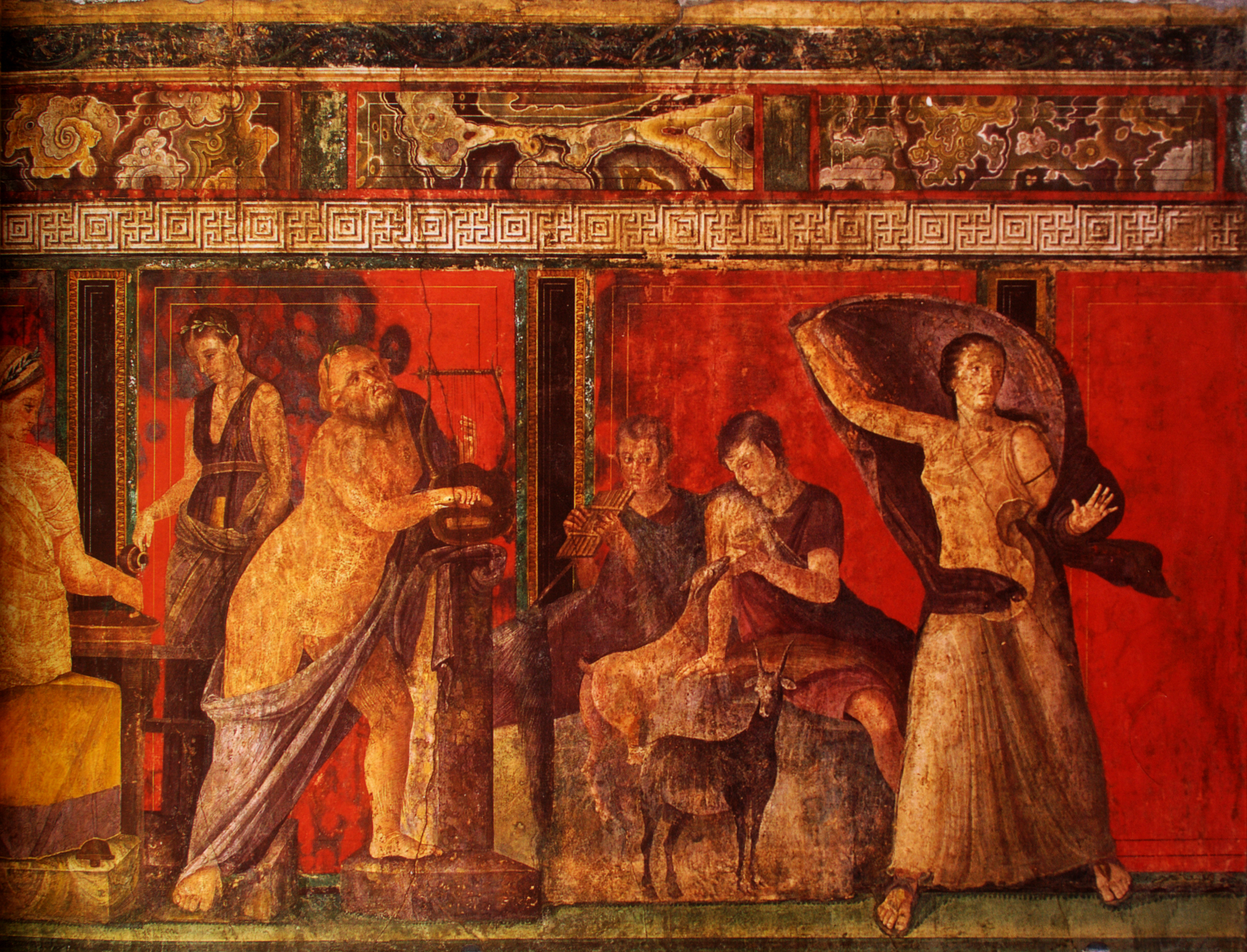 Silenus holding a lyre (left); demi-god Pan and a nymph sitting on a rock, nursing a goat (centre); woman with coat (right). Fresco of the mystery ritual, right, Villa of the Mysteries, Pompeii, Italy.