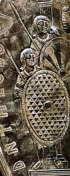 Gothic soldiers on the Missorium of Theodosius I, made in 388 AD. - Goths