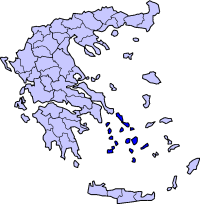 Location of Cyclades Prefecture in Greece