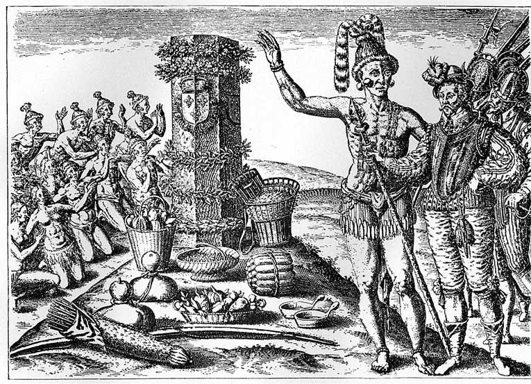 Indianer leisten Abgaben an Franzosen in Florida. (Kupferstich, um 1600)