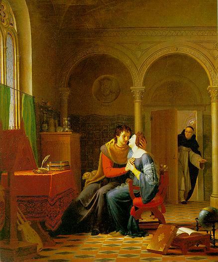 Жан Виньо. Каноник Фульбер застает врасплох Абеляра и Элоизу. Изображение из Википедии
