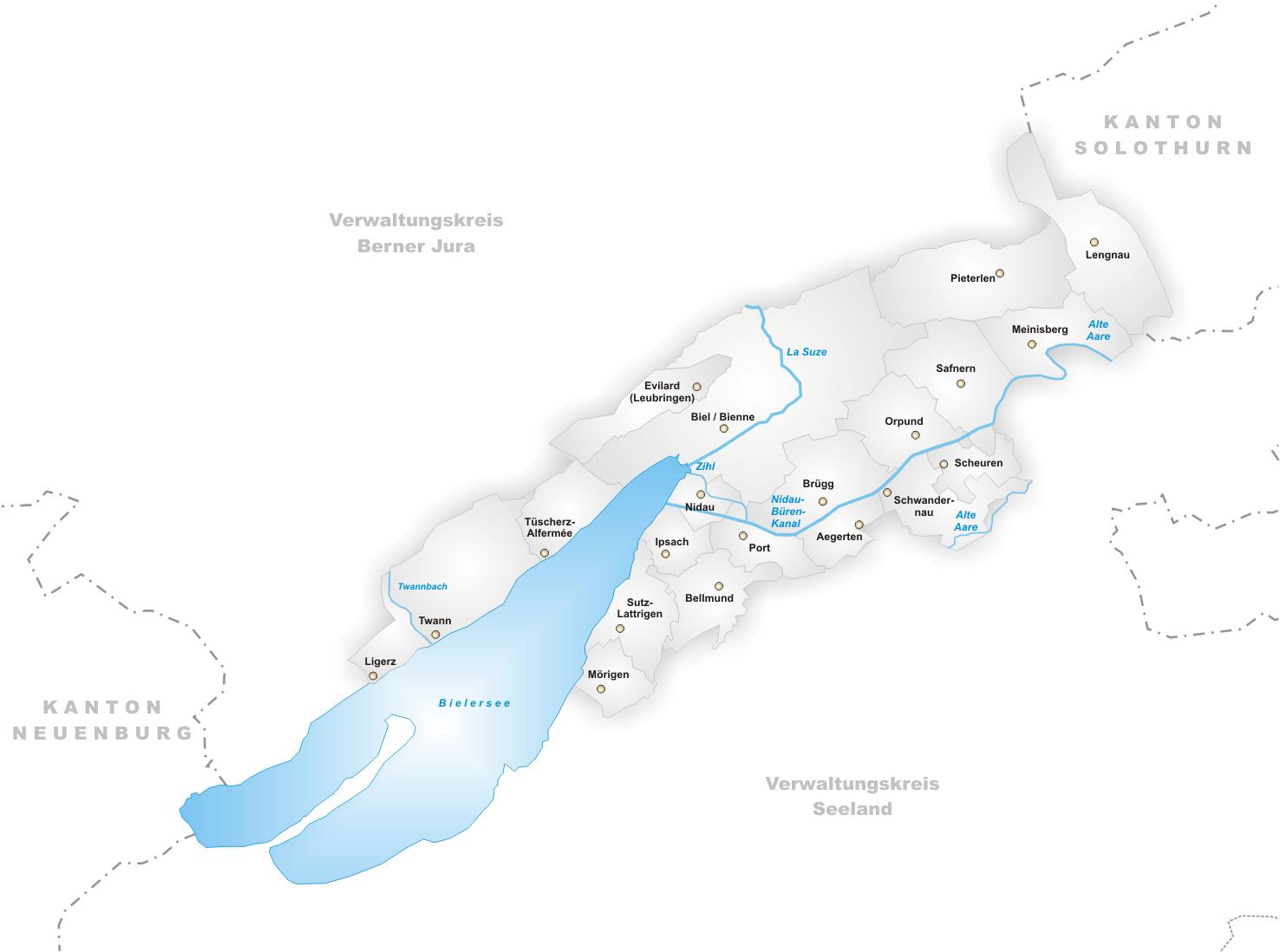 FileKarte Gemeinden des Verwaltungskreis Biel Biennepng