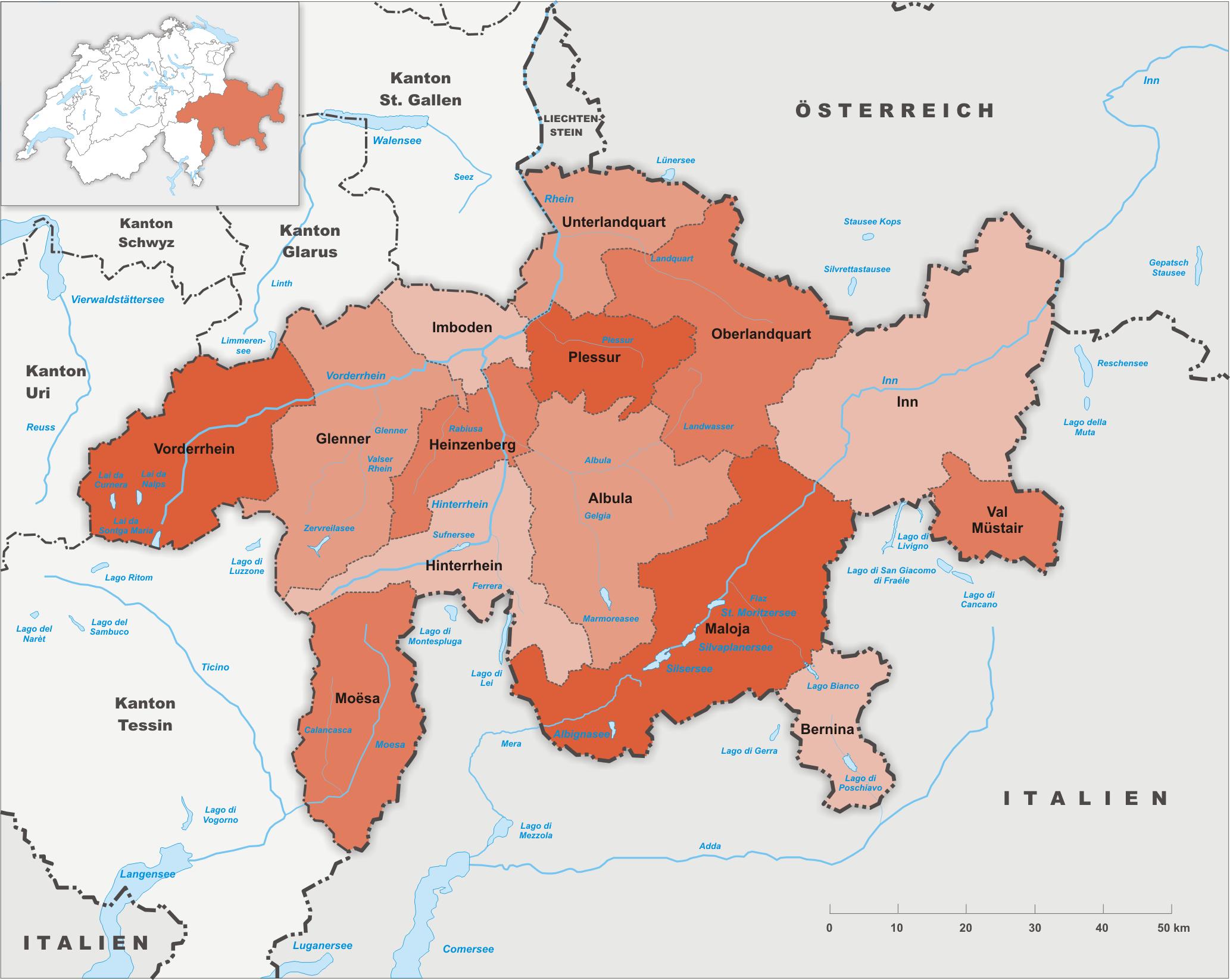 Bezirke des Kantons Graubünden bis 2000