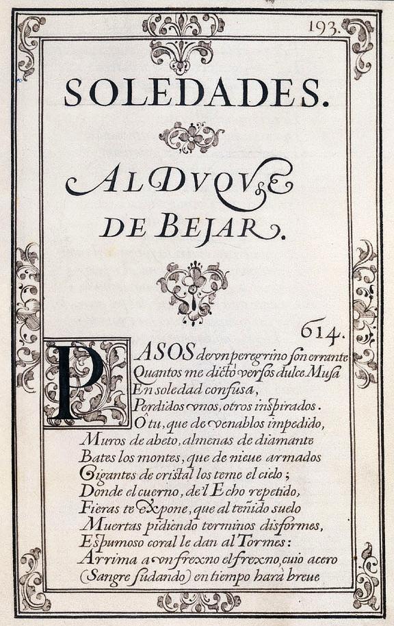 Página inicial de Las soledades (l. I, pág. 193) en el Manuscrito Chacón.