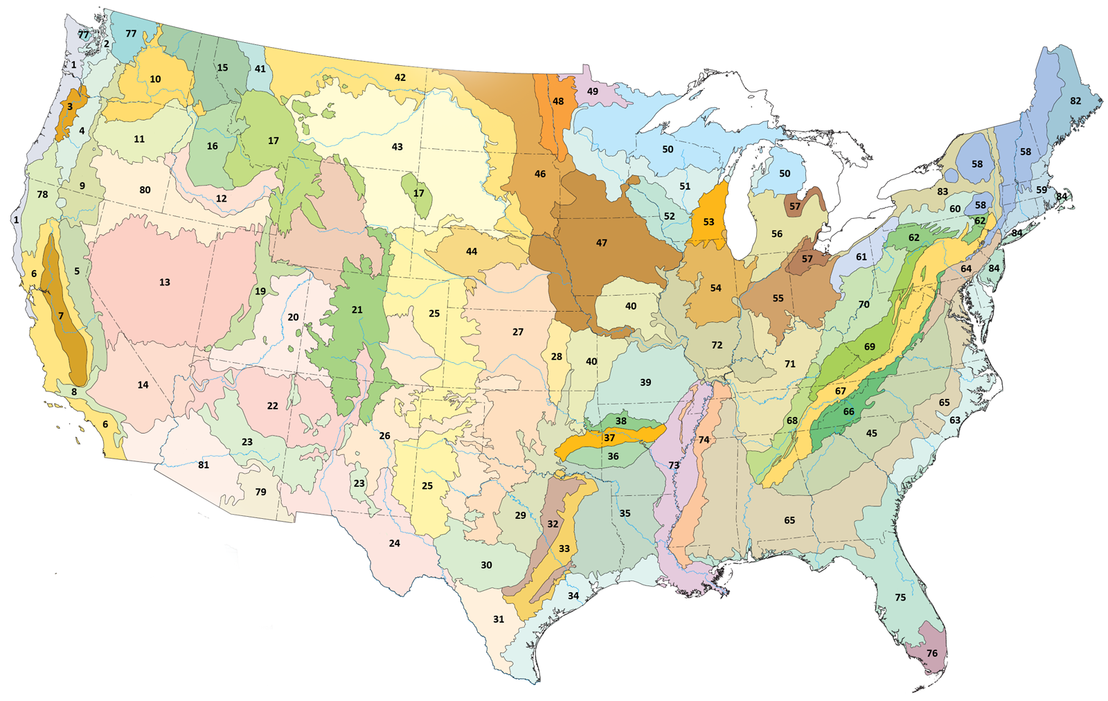 List Of Ecoregions In The United States EPA Wikiwand - Map of deserts in us