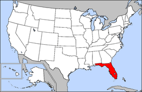 Mapa ning United States with Florida highlighted
