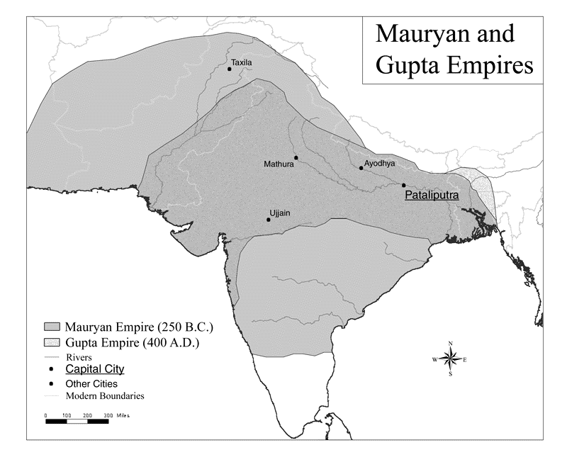 Map of the Maurya and Gupta Empires