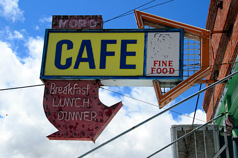 Moro Cafe Sign (Sherman County, Oregon scenic images) (sheDB0203)
