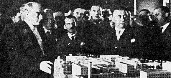 Mustafa Kemal surveying the model of the quarter of Ministries.jpg