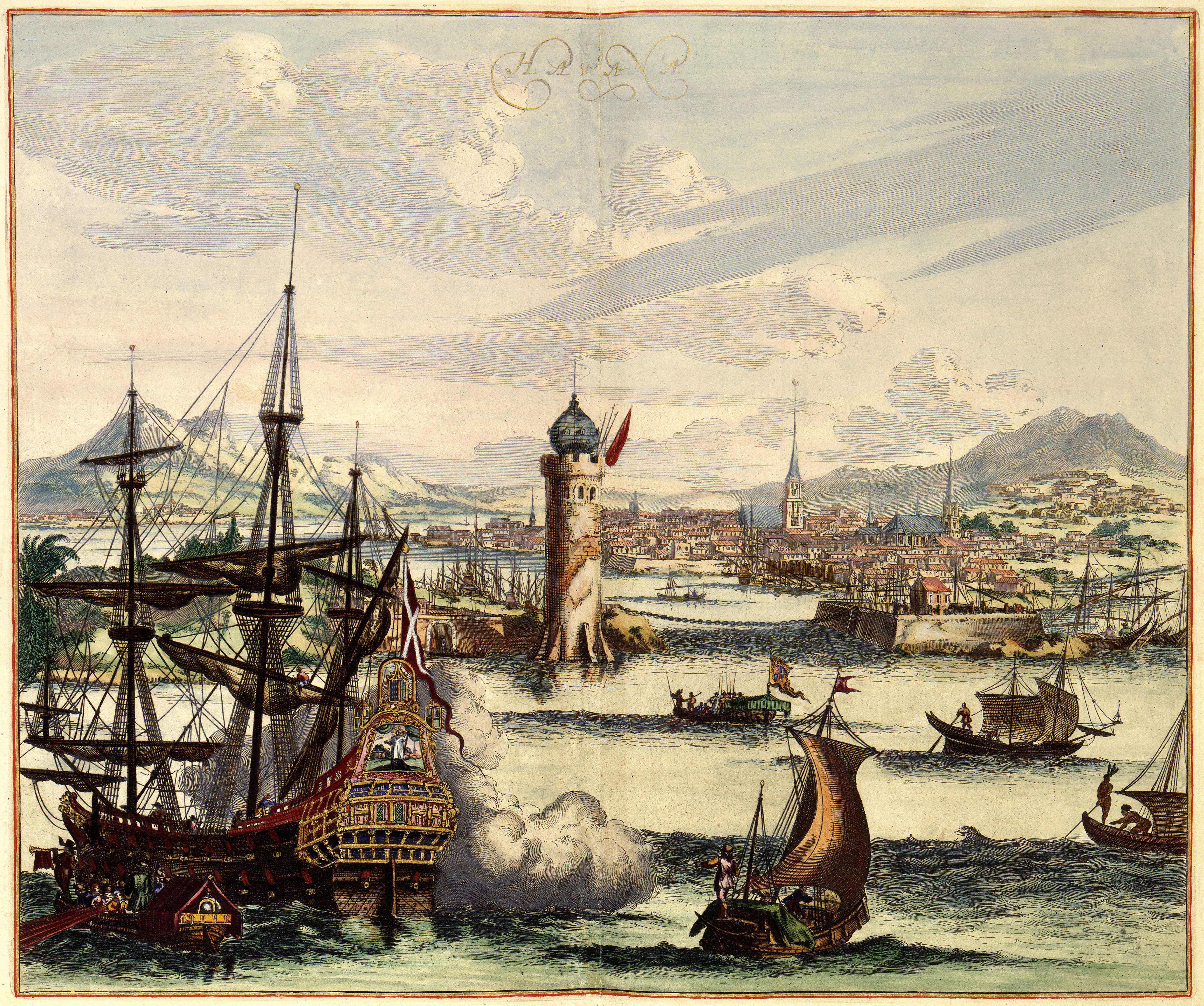 Grabado antiguo de la Habana colonial. Ámsterdam, siglo XVII.