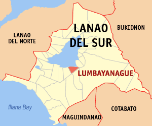 Map of Lanao del Sur showing the location of Lumbayanague