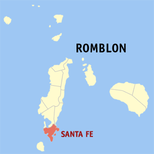 Map of Romblon showing the location of Santa Fe
