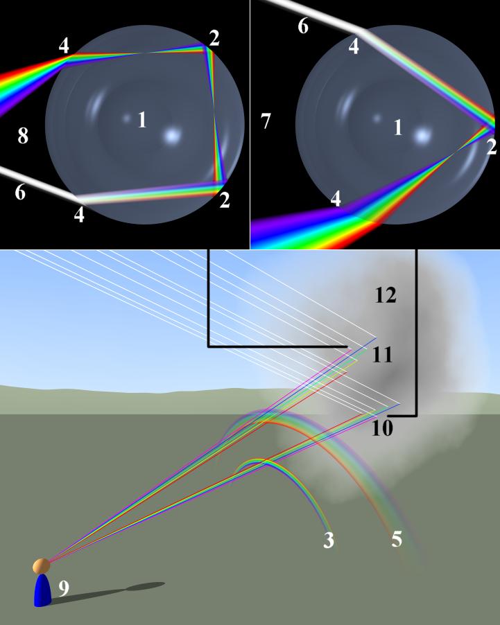 Esquema del camino recorrido por la luz en una gota de agua. Y formación del arcoíris (Crédito:wikipedia)