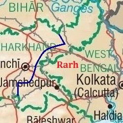 Map showing the area of Rarh
