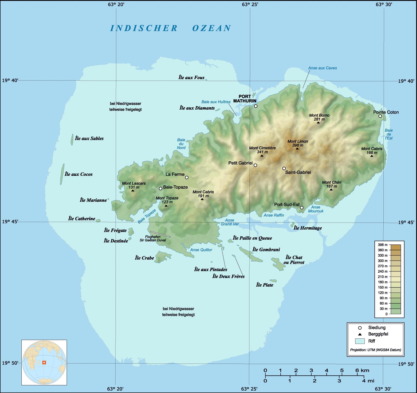 Rodrigues Island Map
