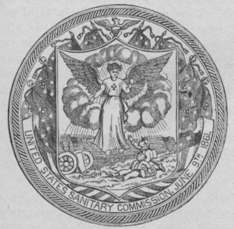 The official seal of the United States Sanitary Commission.