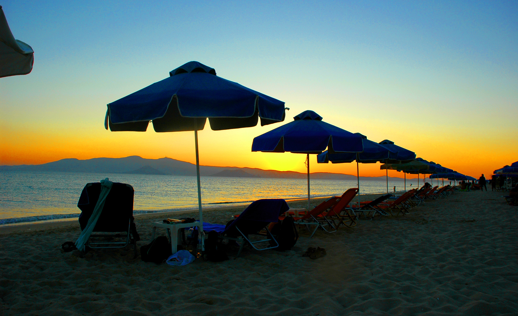 Sunset at the Plaka beach in Naxos one of the best beaches in Greece