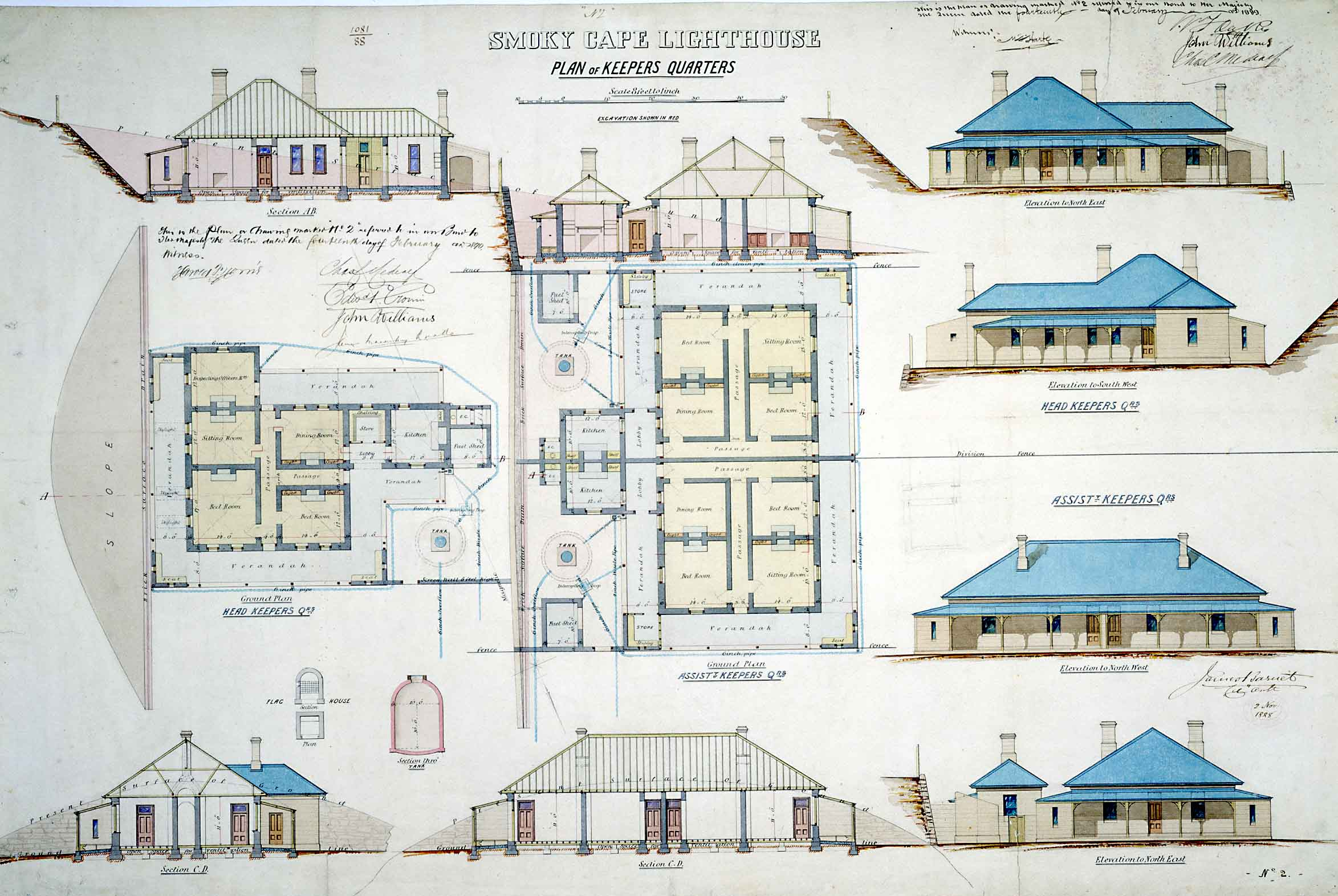 Keepers' quarters plans, 1888