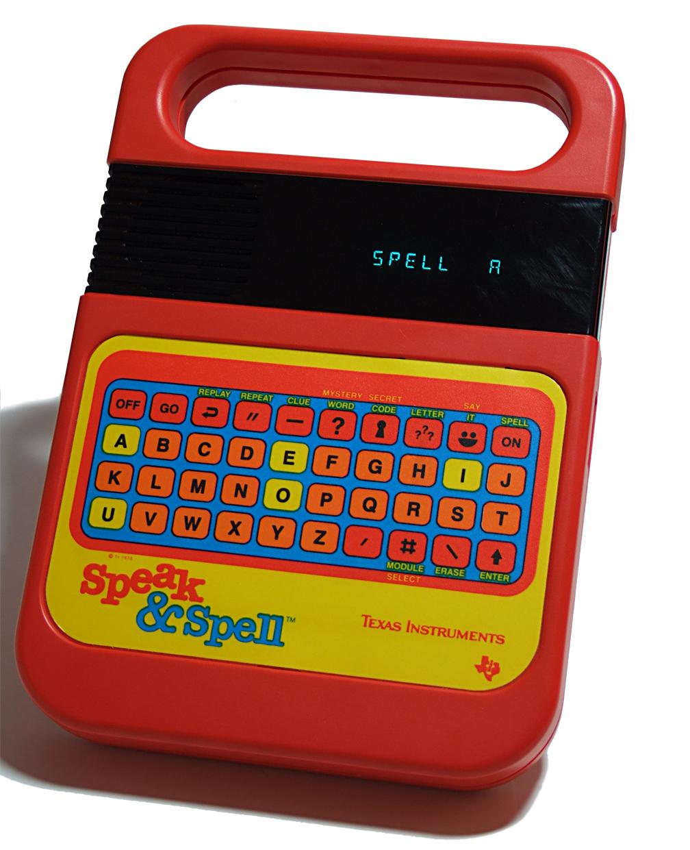 Texas Instruments Speak & Spell using a TMC0280 speech synthesizer.