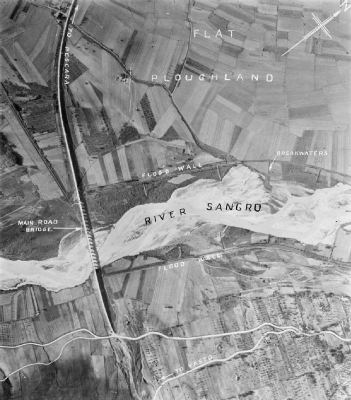 An aerial photograph of the Sangro River