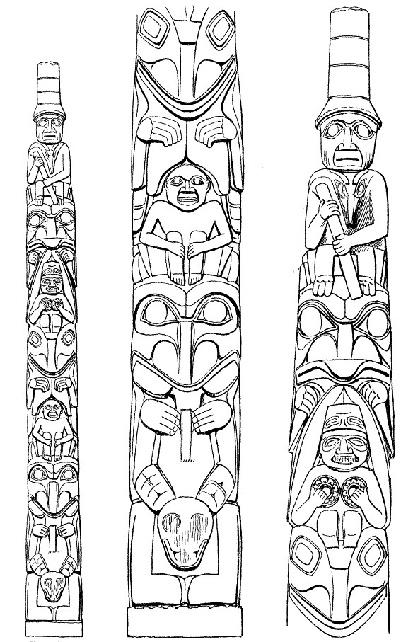 Northwest coast indians coloring pages coloring pages for Totem pole design template