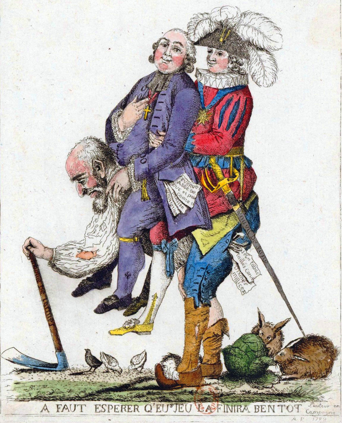 french revolution simple english the encyclopedia caricature of the third estate carrying the first estate clergy and the second estate nobility on its back before the revolution