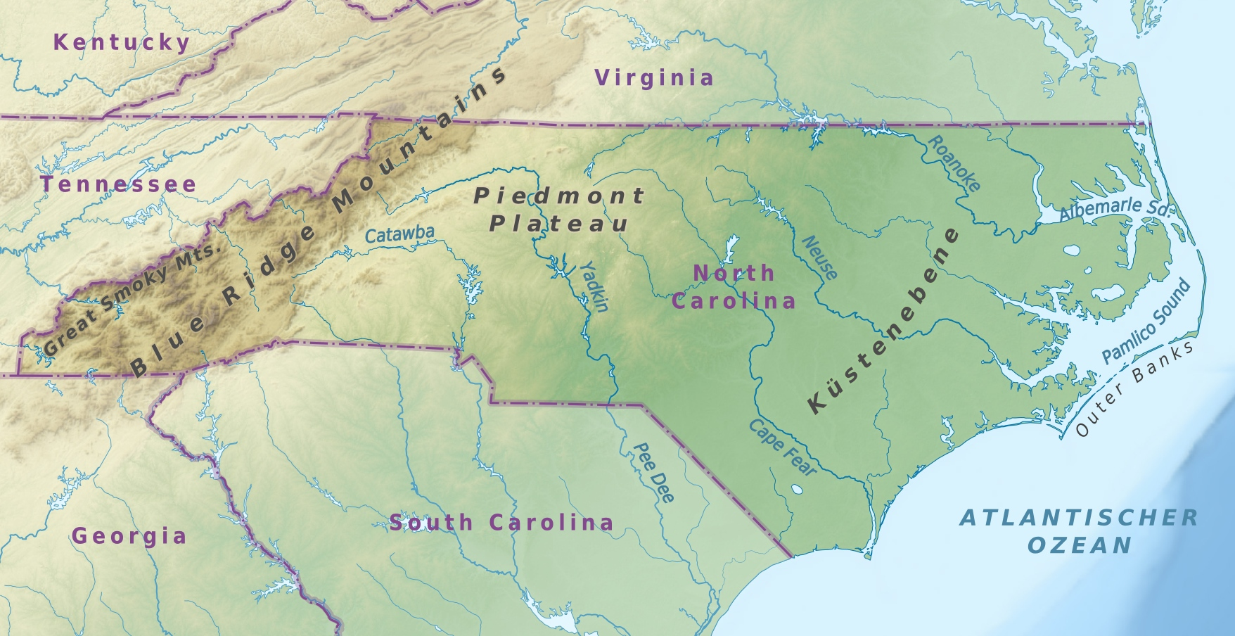 FileUSA North Carolina Physical Mapjpg Wikimedia Commons - Virginia physical map