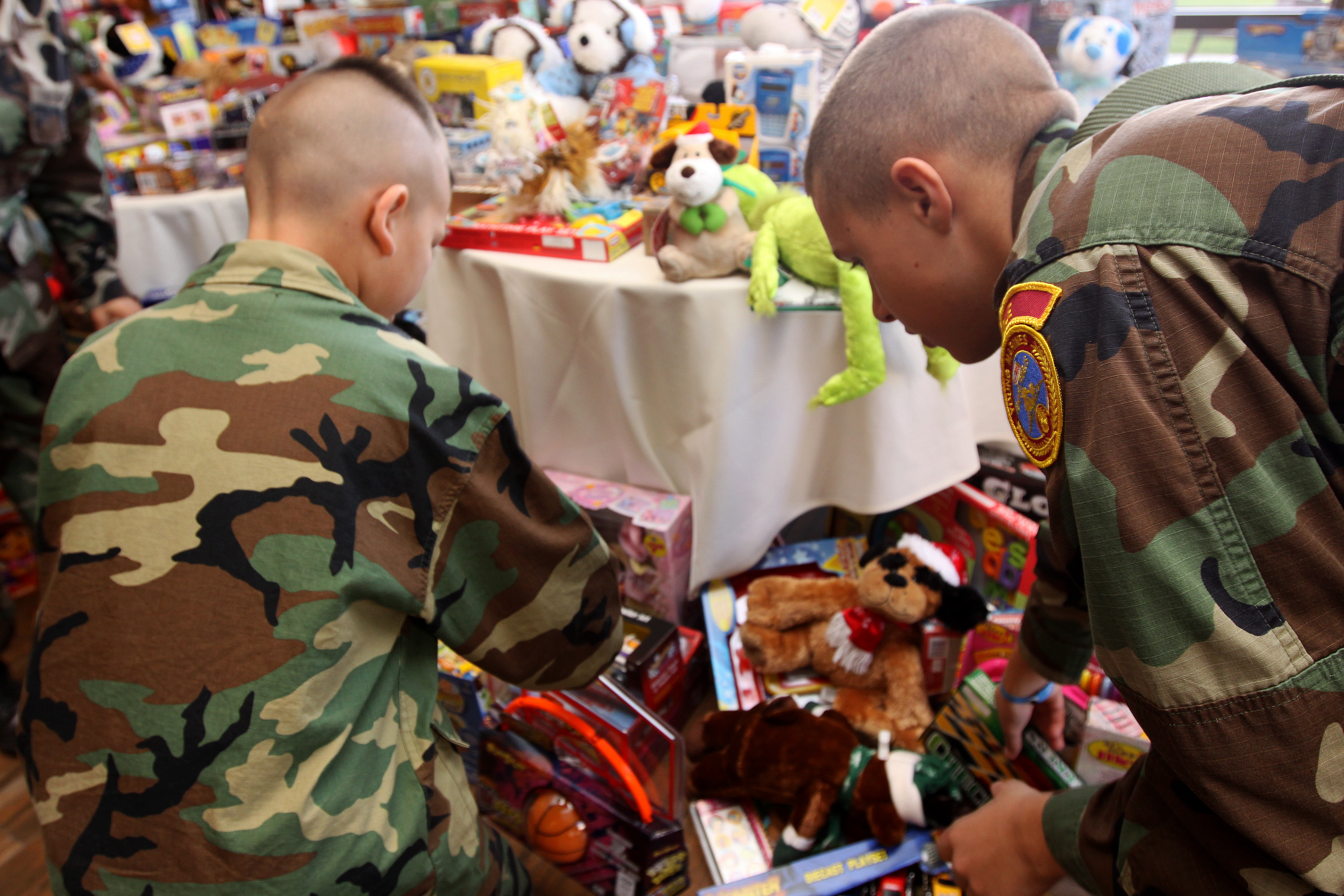 Eagle Young Marines staging a display of toys being donated to less-fortunate children through Toys For Tots. (Credit: US Marine Corps)
