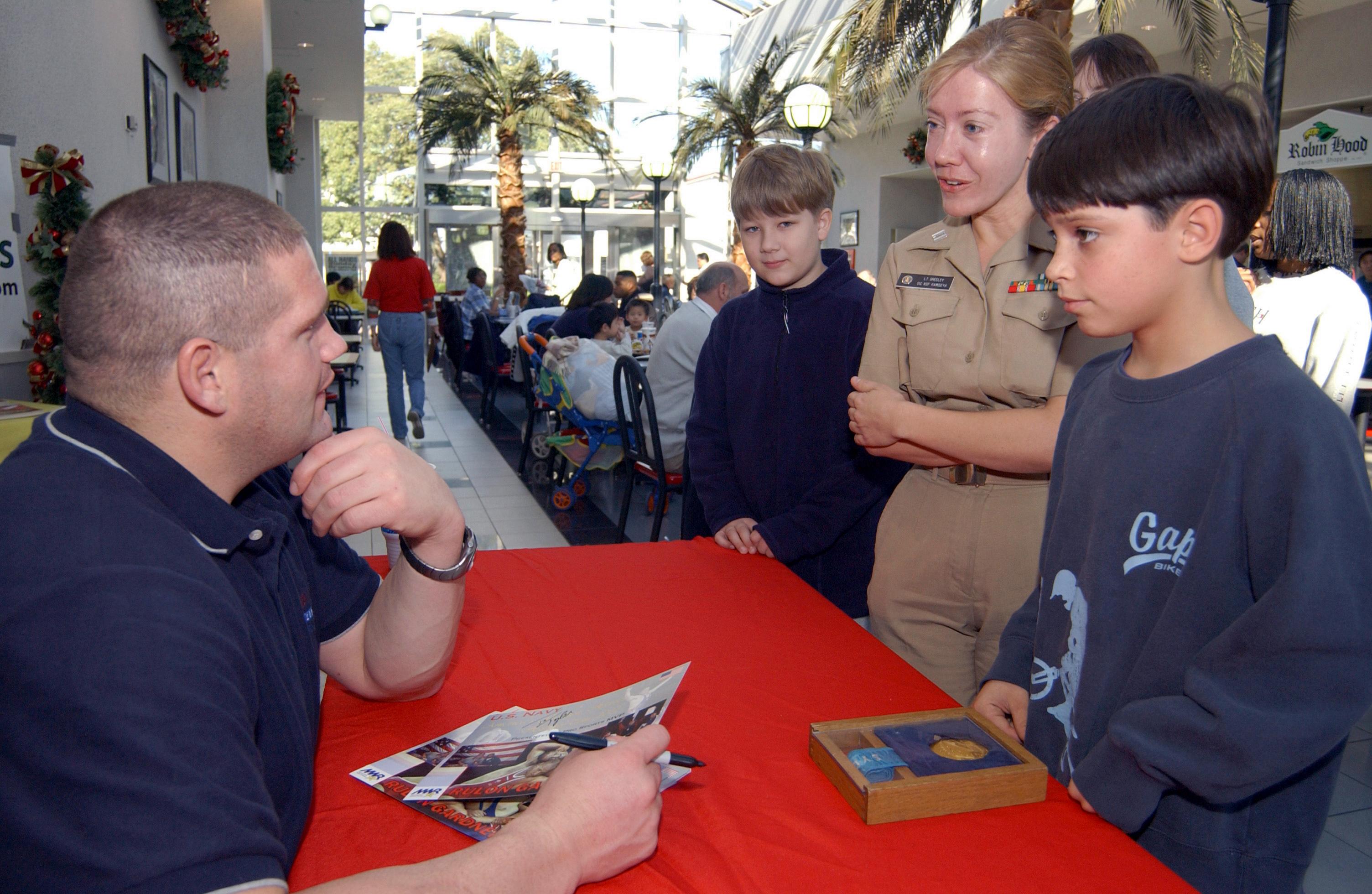 ... Gold Medallist Rulon Gardner at the Navy Exchange in Atsugi, Japan.jpg