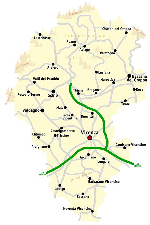 Cartina Geografica Bassano Del Grappa.Province Of Vicenza Wikiwand