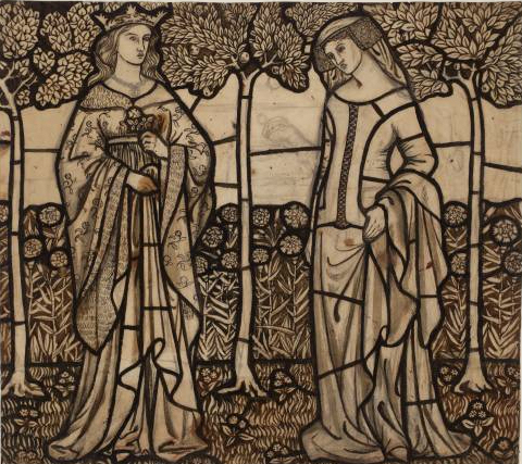 File:William Morris Guinevere and Iseult - cartoon for stained glass 1862.jpg