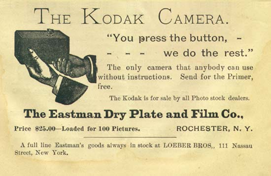 An ad for a Kodak camera from 1889. At the time, it cost $25, around $600 in today's money.