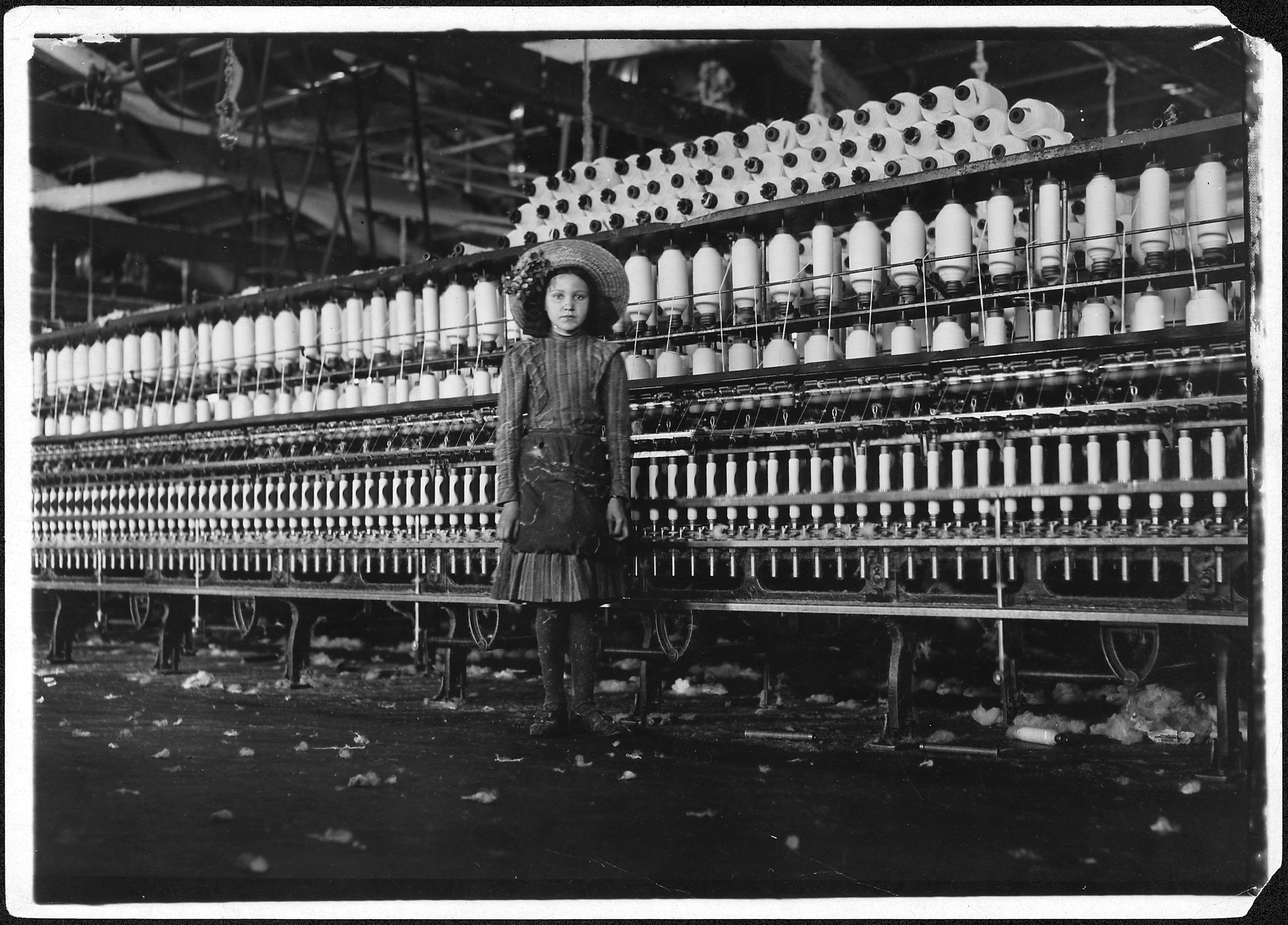 File:Young spinner in Roanoke Cotton Mills. Said 14 years old, but ...