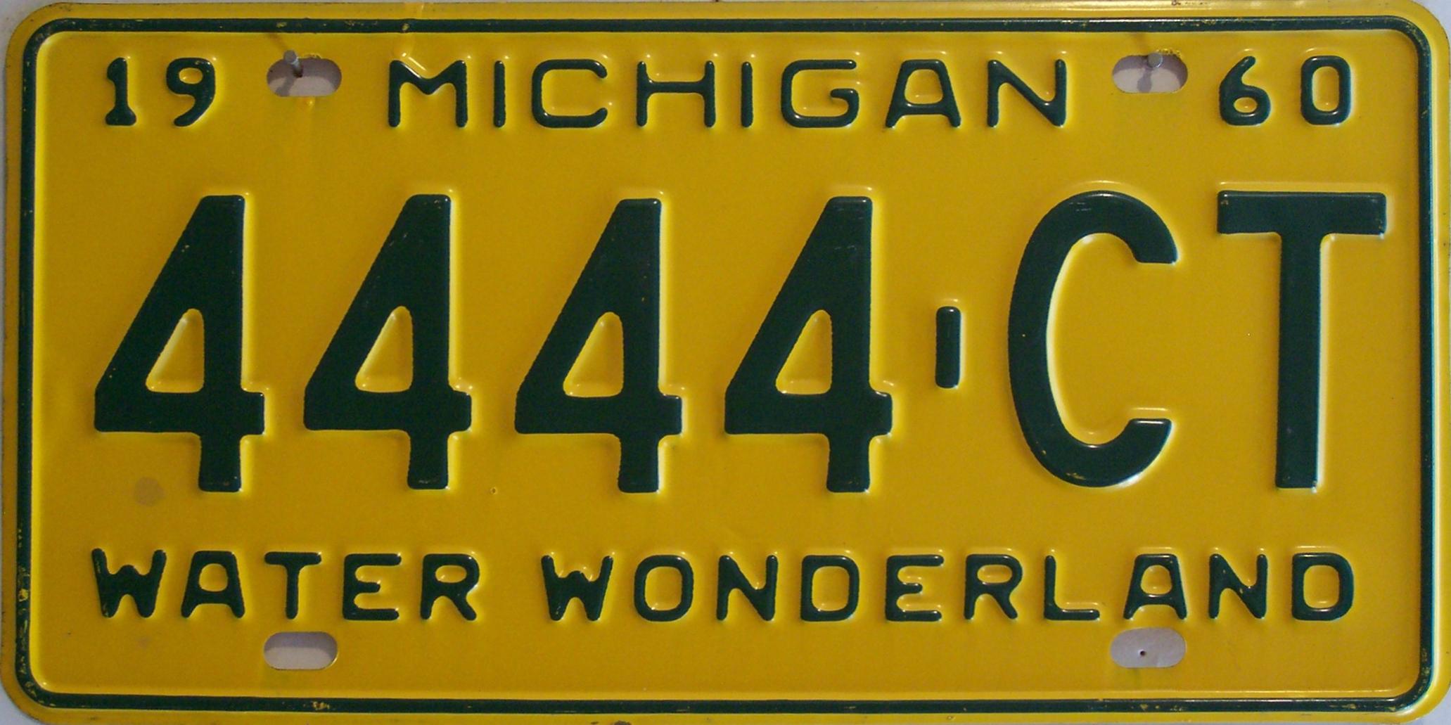 File:1960 Michigan license plate.jpg - Wikimedia Commons