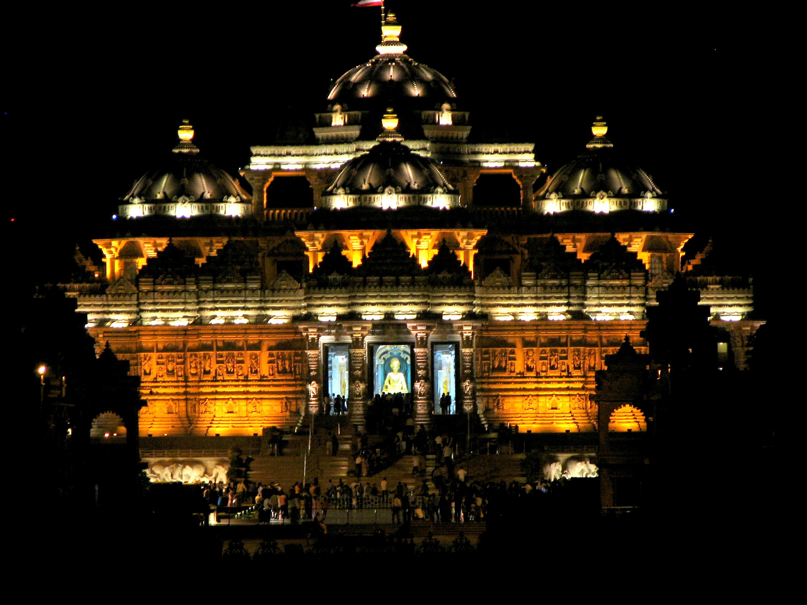 Description Akshardham in Delhi at night.JPG
