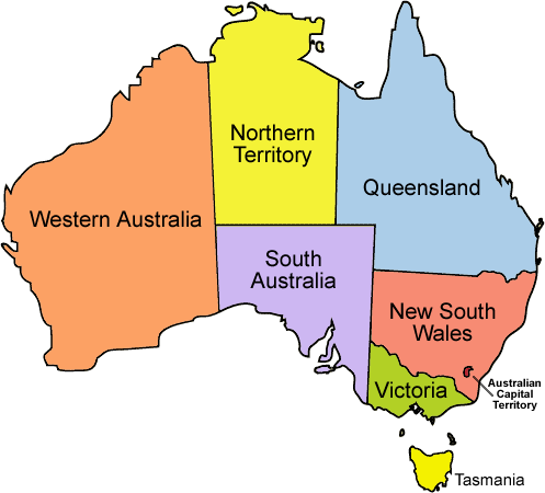 Political map of Australia