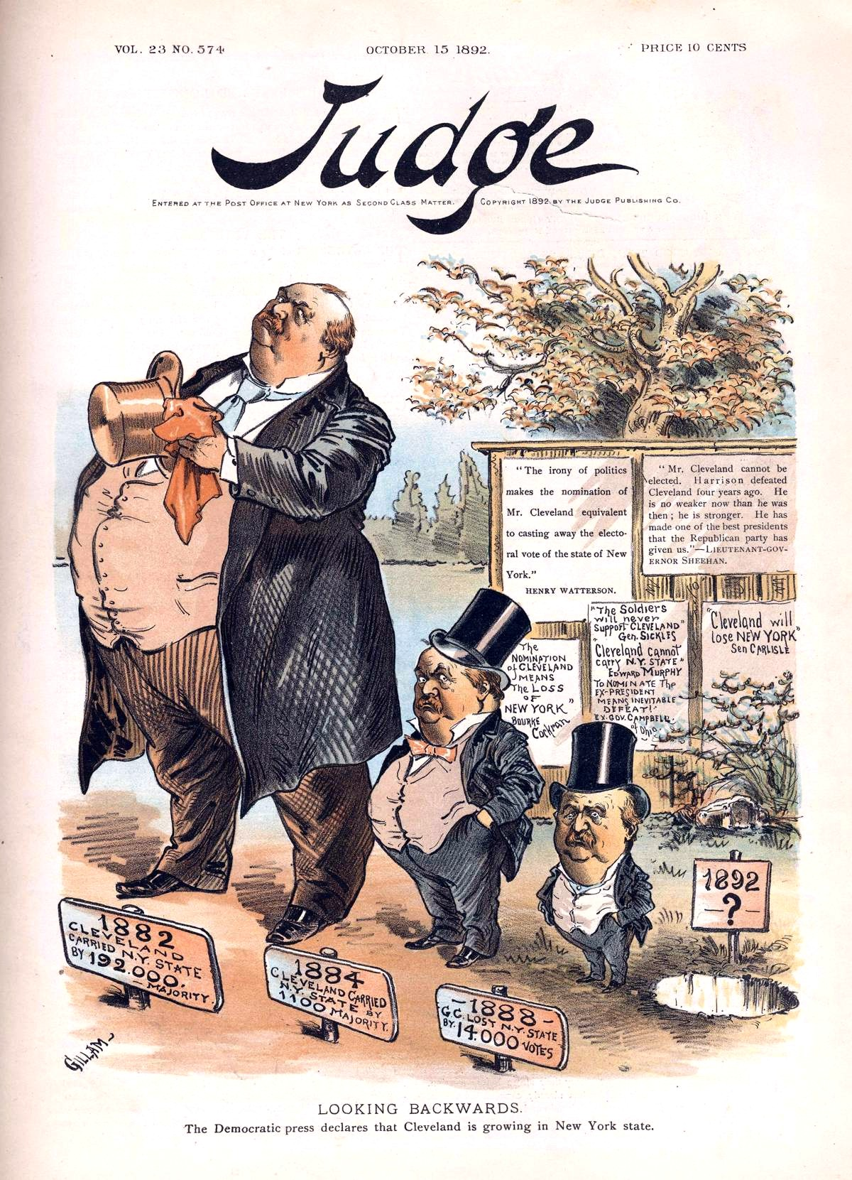 The shrinking stature of Grover Cleveland in the eyes of New York voters, as depicted By Bernhard Gillam (1856-1896) [Public domain], via Wikimedia Commons