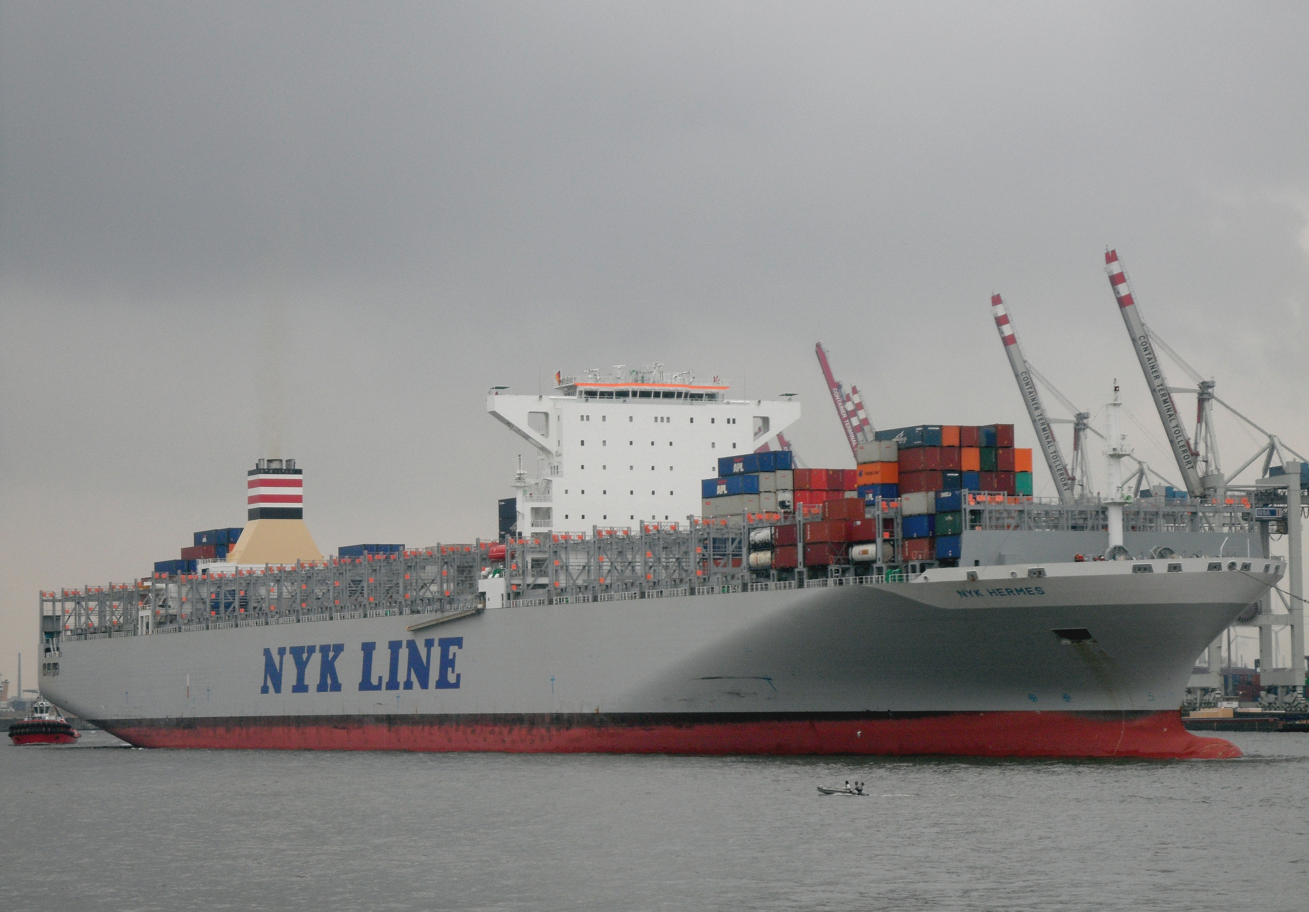 filecontainer ship nyk hermes front of the terminal
