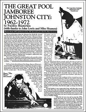 """First page of article ""The Great Pool Jamboree: Johnston City 1962-1972"" by Pauline Masterton, showing typical page appearance, with plain type and black-and-white images in a two-column layout."
