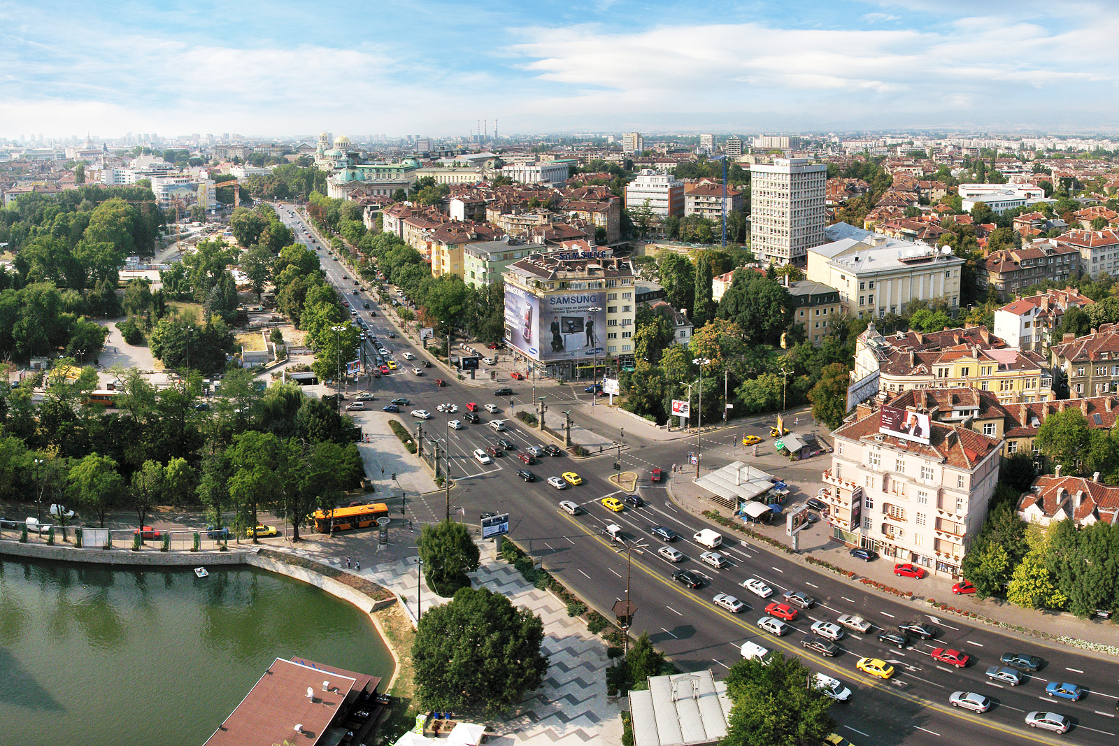 Aerial view of central Sofia, the financial heart of the country