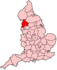 Local government Lancashire shown in red, with two unitary authorities in ceremonial Lancashire orange. EnglandLancashire.png