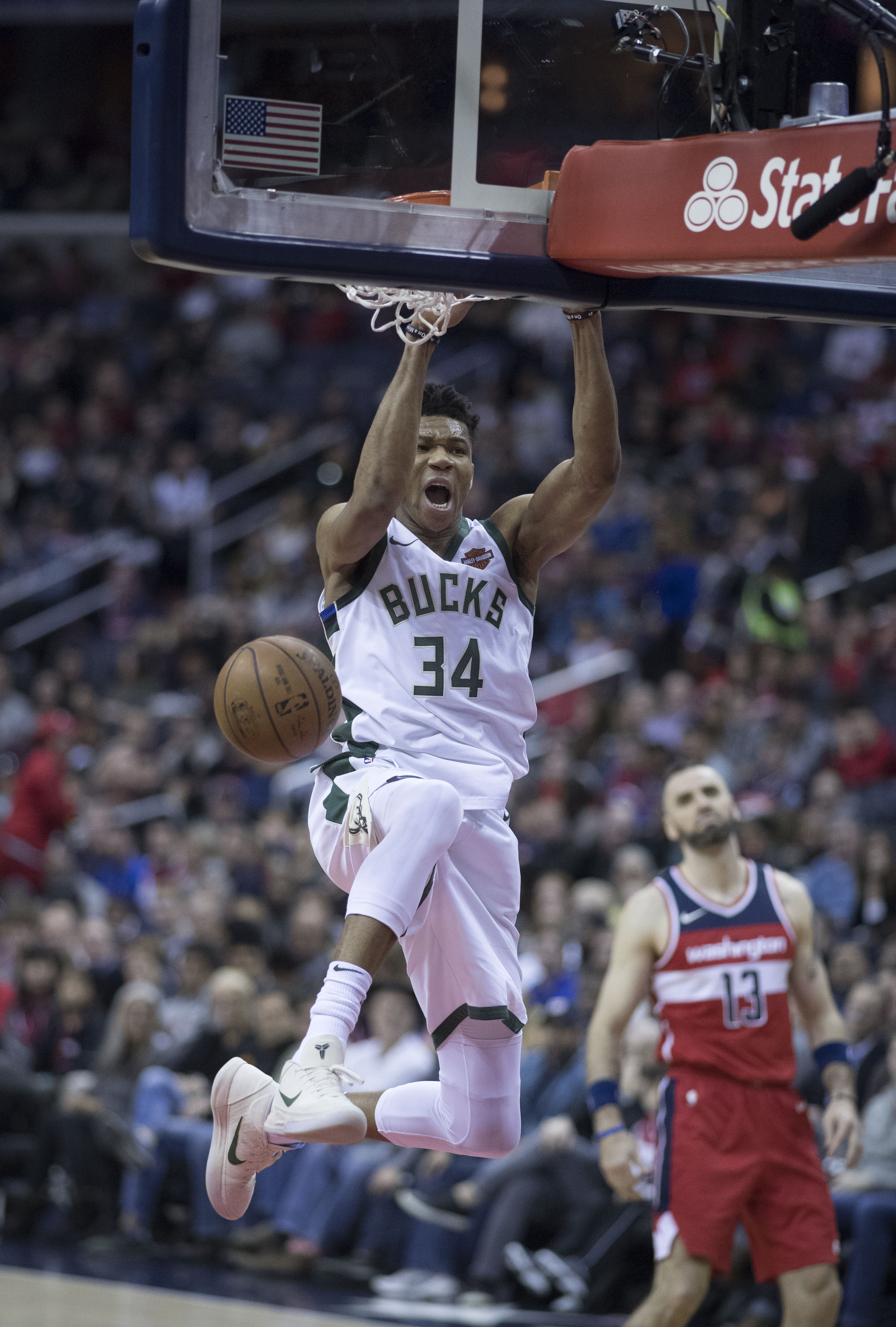 Antetokounmpo dunking against the Washington Wizards in 2018. 7adae9f36