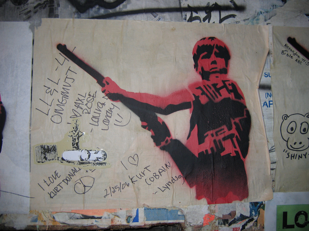 Graffiti boy with gun