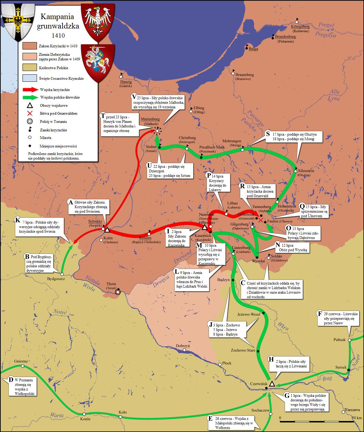 Wielka Wojna z Zakonem Krzyżackim, CC-BY-SA 4.0 autorPopik, źródło wikipedia.pl