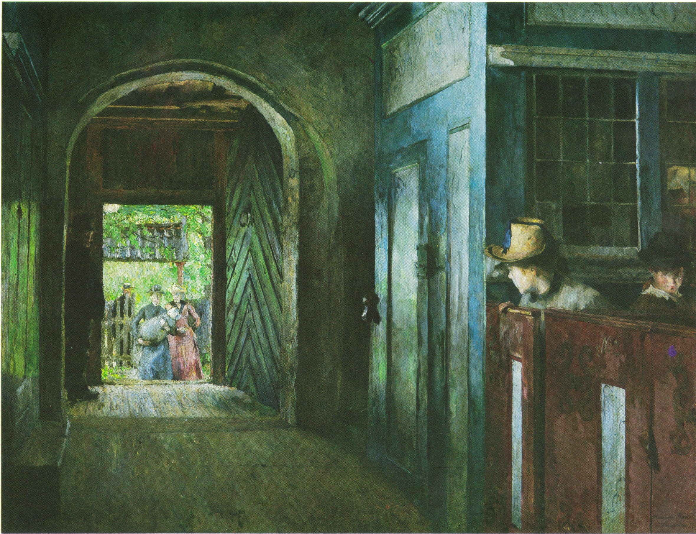Barnedåp i Tanum kirke, by Harriet Backer, 1892