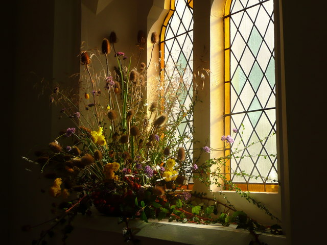 Harvest Festival Flowers at Shrewsbury United Reformed Church - geograph.org.uk - 1478601