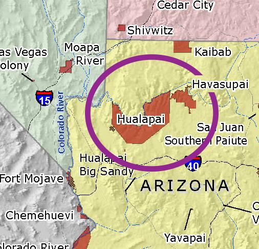 Havasupai–Hualapai language - Wikipedia on map of meteor crater, map of shoshone falls, map of grand canyon region, map of utah, map of havasu falls, map of monument valley, map of mooney falls, map of canyon de chelly,