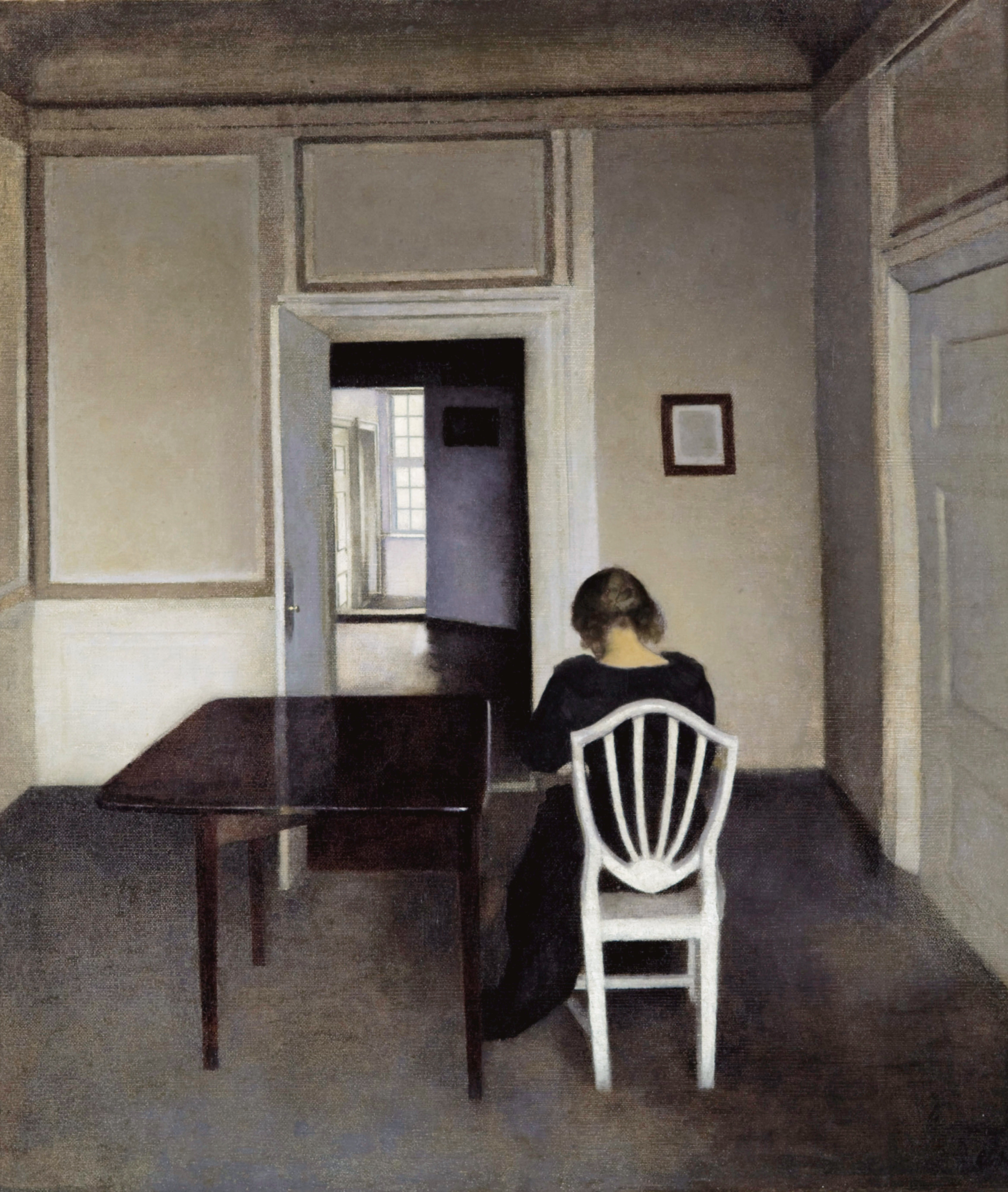 Interior with Ida in a White Chair, painting by Vilhelm Hammershøi