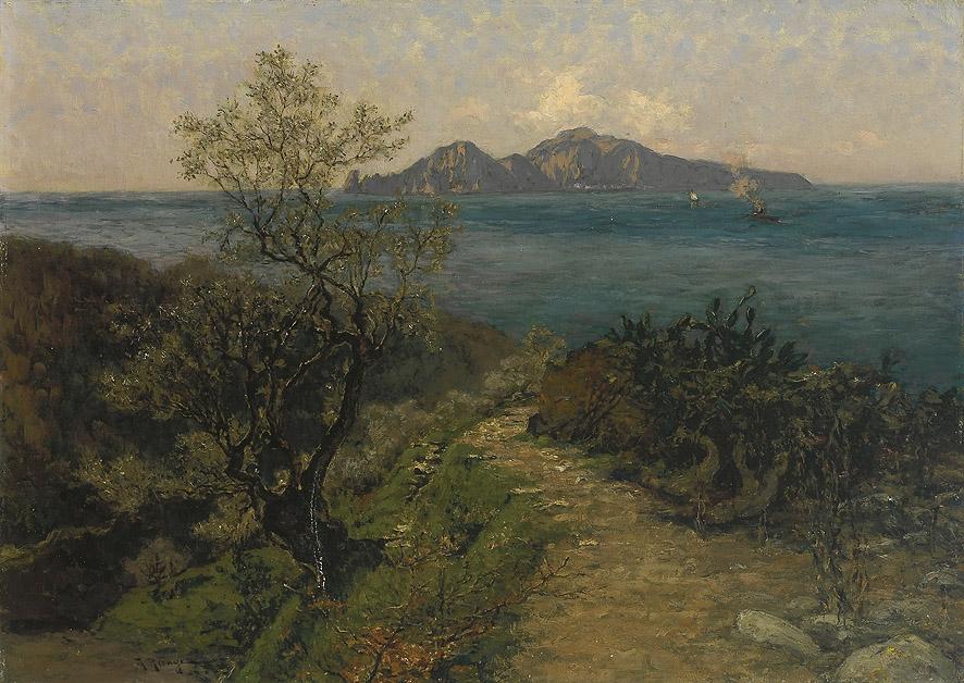 Julius Ludwig Friedrich Runge - Südliche Küstenlandschaft. Blick von der Höhe auf Insel an einem Sonnentag